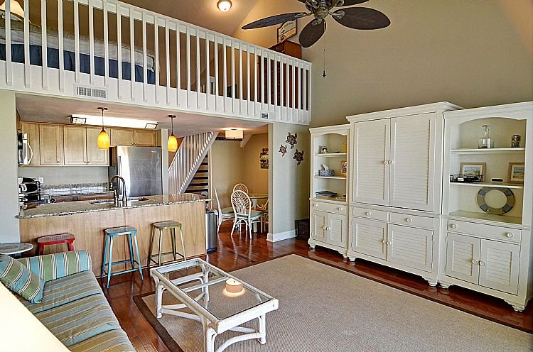 Living Room - Surf Condo 337  - Magnificent Ocean View, Coastal Decor, Pool, Beach Access - Surf City - rentals
