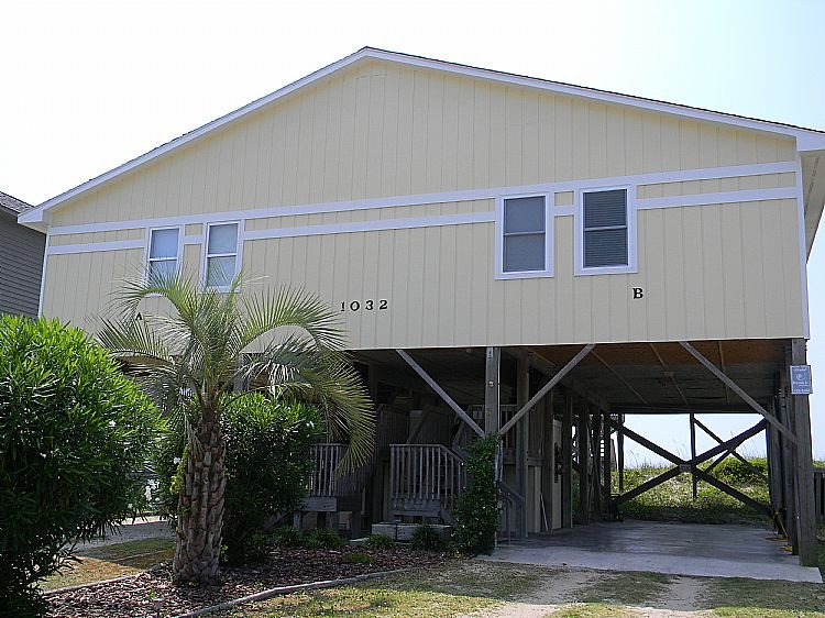 Duplex Front From Street - A Sea Green  - Fantastic View, Cute Interior, Oceanfront Access - Surf City - rentals