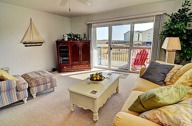 Living Room - Surf Condo 611 -  SAVE UP TO $90!! Ocean View w/ pool & beach access - Surf City - rentals