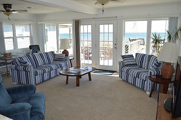 Living Room, View 01 - The White House - Magnificent Oceanfront View, Two Spacious Decks, Excellent Location - Topsail Beach - rentals