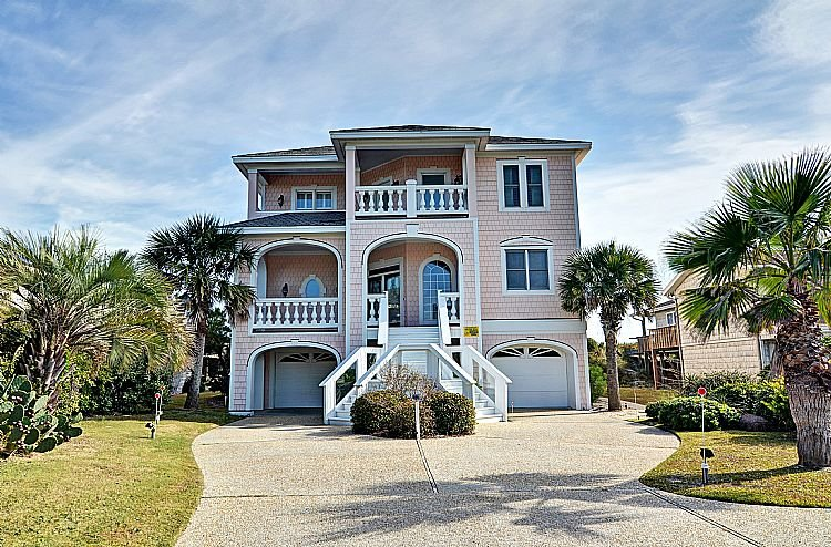 Street Side Exterior - Footprints - SAVE $200 in June!  Gorgeous Oceanfront View home w/Elevator, - Topsail Beach - rentals