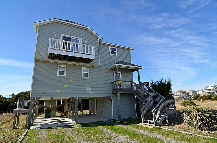 Street Side Exterior - On A Clear Day - Panoramic Ocean & Sound Views, Peaceful Area, Elevator - Topsail Beach - rentals
