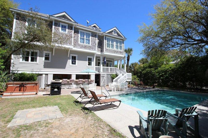 Pool - 2nd Row Beach Home, Ocean Views, Private Pool/Spa, 5 Minute Walk to Coligny - Hilton Head - rentals