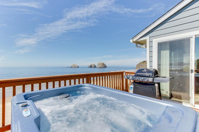 Beachfront, dog-friendly cottage w/ private hot tub and stunning views! - Image 1 - Oceanside - rentals