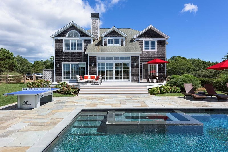 Summer at its best.  Pool, Patio, Outdoor Dining Area - GORDM - Gorgeous Contemporary Home,  New Heated 20 x40 Pool for Summer 2016 - Martha's Vineyard - rentals