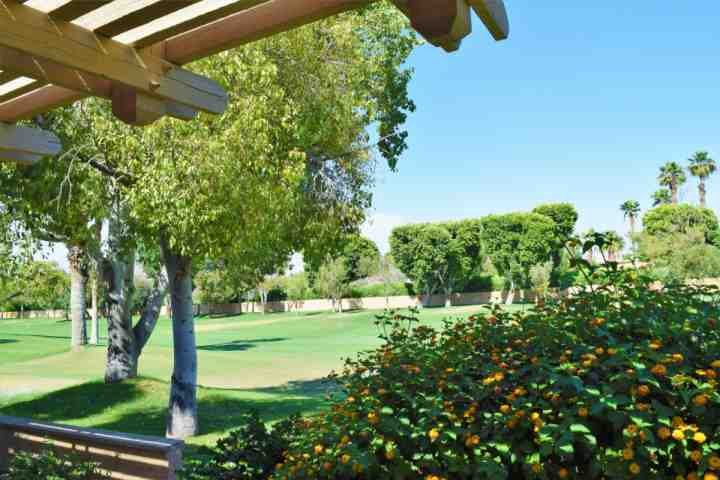 Patio view of golf course - 3 BR, 3 BA Double Master with Beautiful View of 10th Fairway Woodhaven Country Club - Palm Desert - rentals
