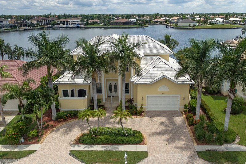 Front Aerial View with Landmark Bay as your backyard - Stunning Landmark Bay Views, Steps from the Beach - Marco Island - rentals