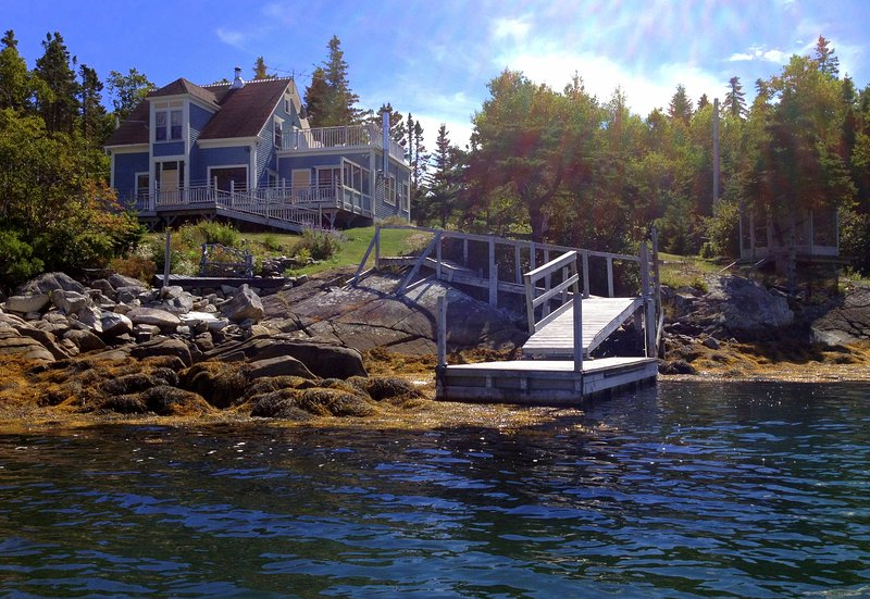 Our home sits on a pretty, secluded cove overlooking a bay. Has a lower deck, gazebo, floating dock  - Stunning Secluded Oceanfront Home Near Lunenburg! - Lunenburg - rentals