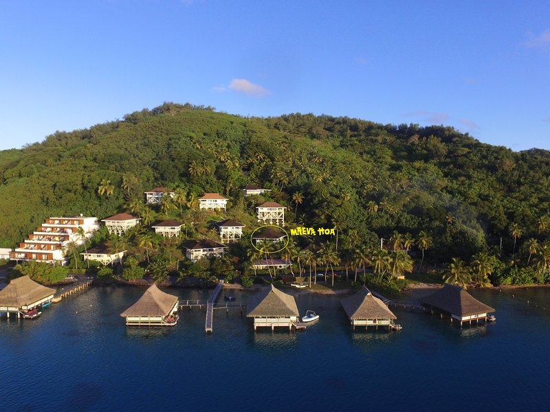 Our bungalow is in this hillside paradise.  A two minute walk to the lagoon. - Maeva Hoa - Bora Bora Luxury Lagoon View Bungalow - Faanui - rentals