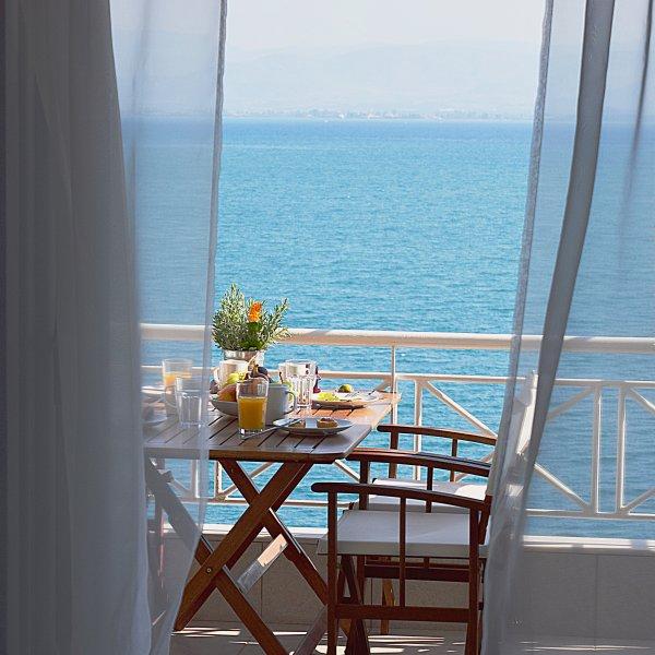 View from Living room-Vacation beach Apartments- Kiveri village close to Nafplion - Waterfront Vacation Apartment, Amazing Sea View, Kiveri village, near Nafplion - Nauplion - rentals