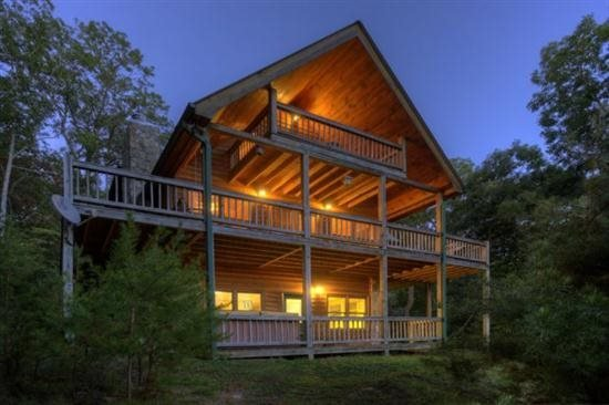 Cabin at dusk - Pet Friendly Mountain Vacation Home In Blue Ridge - Ellijay - rentals