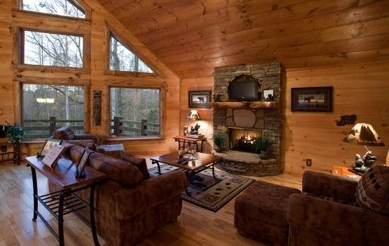 Great room with a gas fireplace - Blue Ridge Georgia Cabin with beautiful wooded setting - Ellijay - rentals