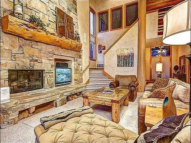 """Well Appointed Living Room with Large Fireplace and Flat Screen TV - Park City """"The Cove"""" - Stunning Views (24622) - Park City - rentals"""