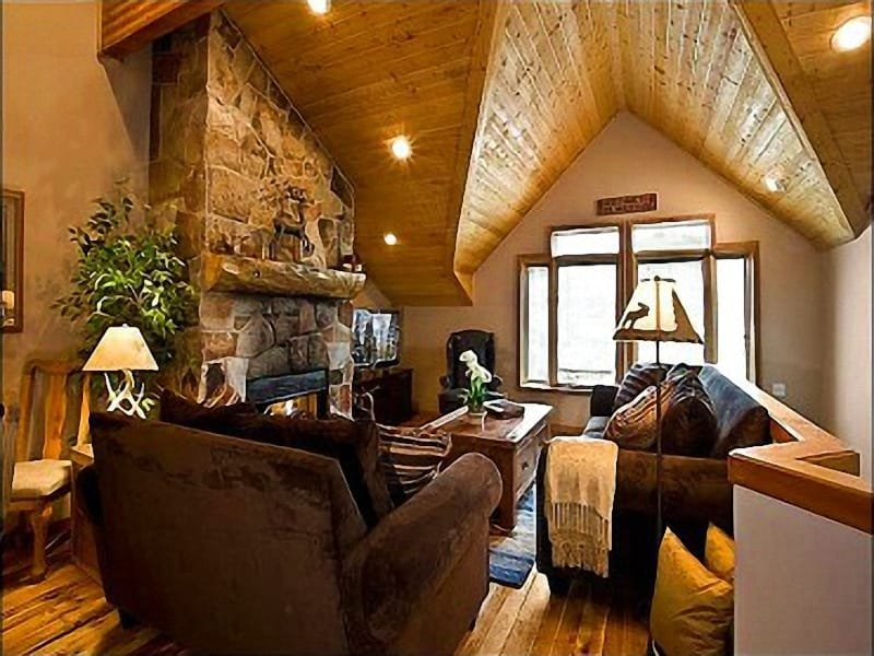 Living Room Includes a Stone Fireplace and Vaulted Ceilings - Luxurious Accommodations - Walk to Historic Main Street (24668) - Park City - rentals