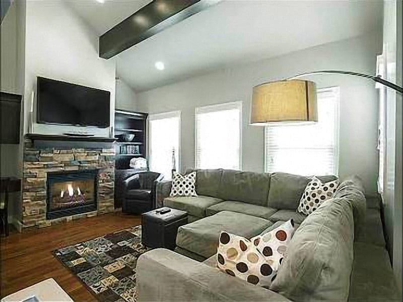 Spacious Modern Living Room with Stone Fireplace - Spacious & Charming Duplex - Multi-Level Layout (24909) - Park City - rentals