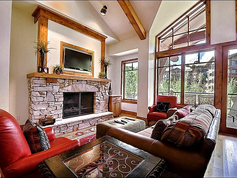 Vaulted Ceilings, a Fireplace, and a Flat-Screen TV in the Spacious Living Room - In the Exclusive Empire Pass Neighborhood - Amazing Views & Amenities (25084) - Park City - rentals
