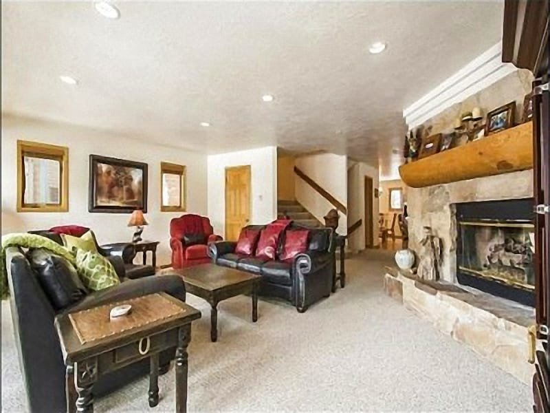 Spacious Living Room with Rock Fireplace and Flat Screen TV - Scenic Mountain Views - Private Deck with Hot Tub (25169) - Park City - rentals