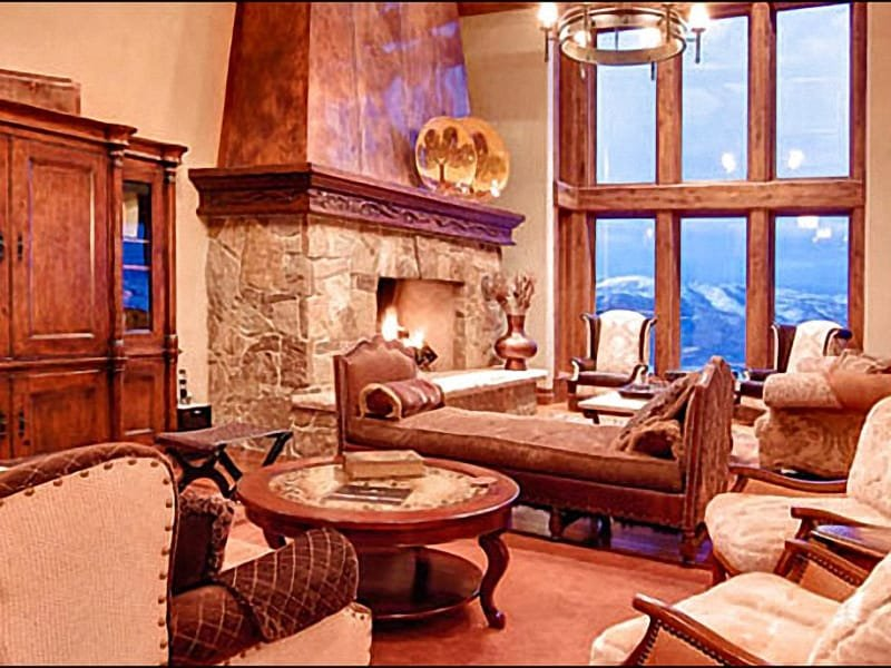 Exquisite Living Room has a Stone Fireplace and Decadent Furnishings - On the Pioche Ski Trail - Panoramic Views of the Surrounding Mountains (25175) - Park City - rentals
