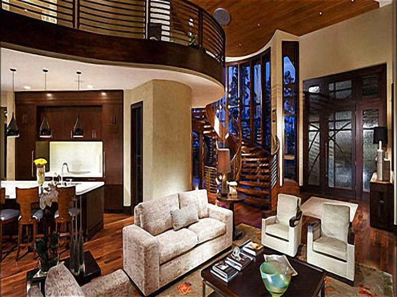 Exquisite Living Room has Modern furnishings and a Unique Spiral Staircase - Floor to Ceiling Windows & Beautiful Views - Exclusive Ski Home with Fine Luxuries (25177) - Park City - rentals