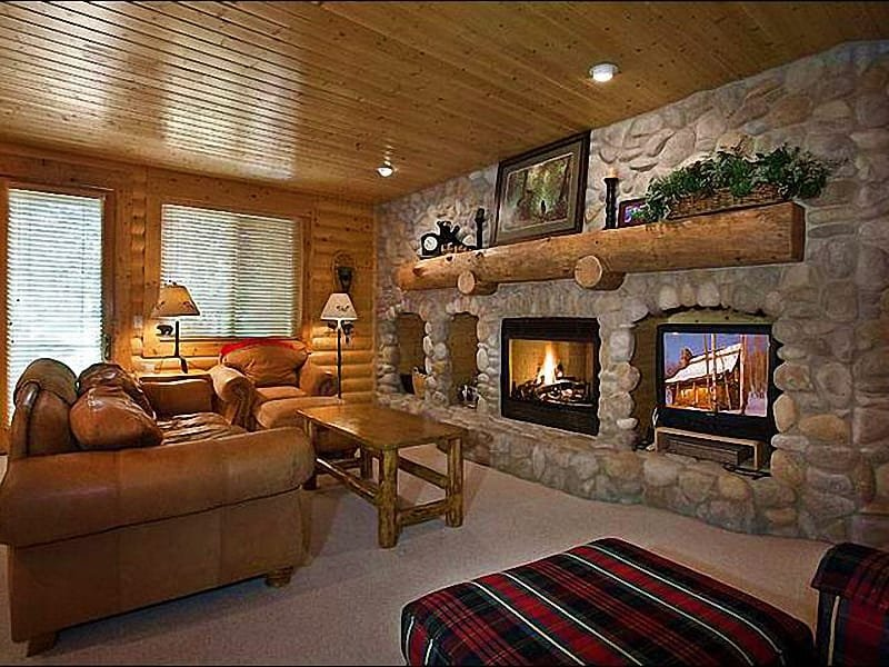 Living Room Features a Gas Fireplace, Flat-Screen TV, and Sleeper Sofa - In the Heart of Silver Lake Village - Custom Furnishings & Decor (25259) - Park City - rentals