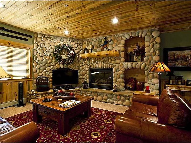 Living Room with River Rock Fireplace - Scenic Views - Ideal Mountain Getaway (25349) - Park City - rentals