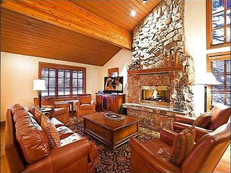The Living Area Features a Cozy Fireplace, and Welcoming Furniture - Private Sauna - Private Hot Tub (25457) - Park City - rentals