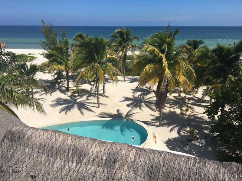view from the tower - The large private beachfront property with the laguna pool, ac and WiFi - Telchac Puerto - rentals