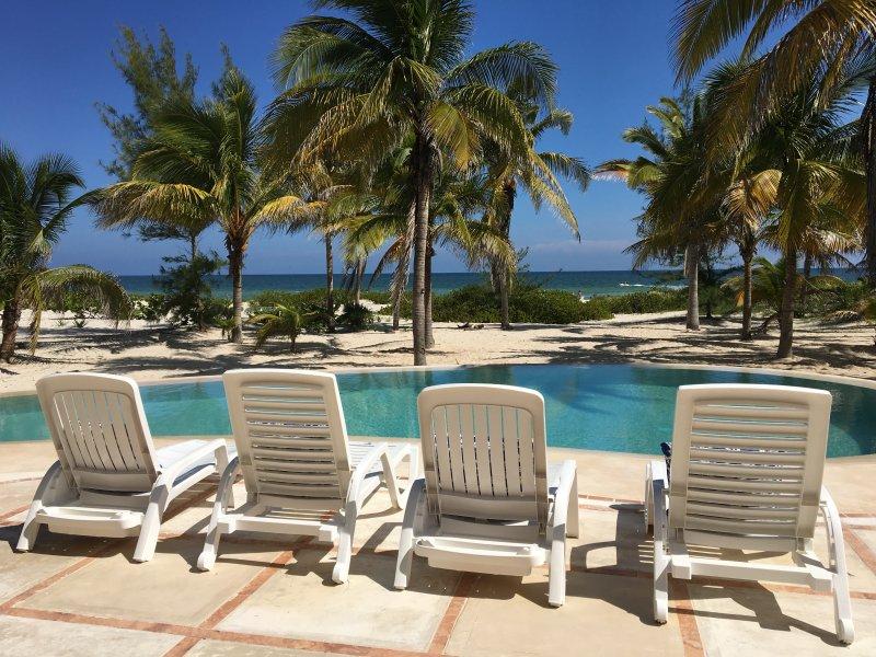 pool facing the ocean - Casa de Cocos is a private, Mayan beach house. - Telchac Puerto - rentals
