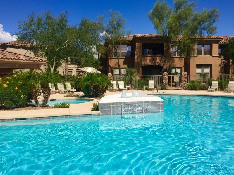 The luxury condo (in photo) is just steps from this gorgrous resort style pool! - Fall Special in Top Scottsdale Condo Community - Scottsdale - rentals