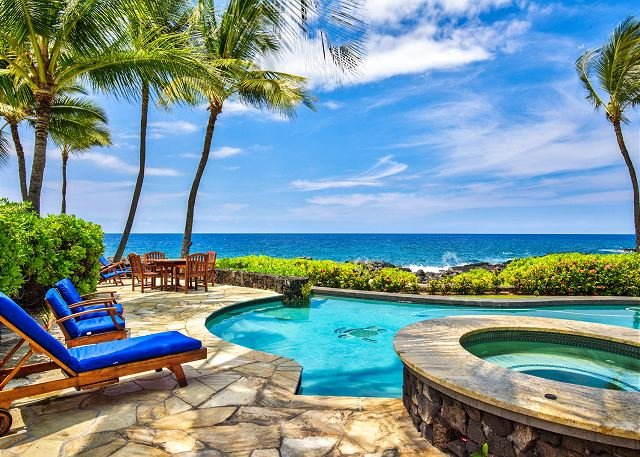 Ocean Front Pool with a View - Beautiful Oceanfront Home in Gated Kona Bay Estates Community, Blue Water #34-PHKBE34 - Kailua-Kona - rentals