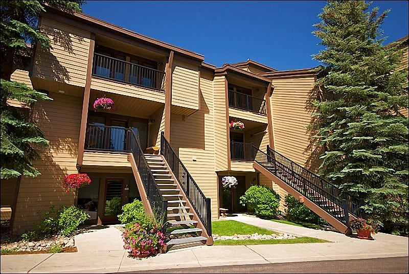 Exterior View of the Condo from the covered parking spot - Virtually Ski In Ski Out with Shuttle Service - Beautifully Furnished Throughout (1521) - Steamboat Springs - rentals