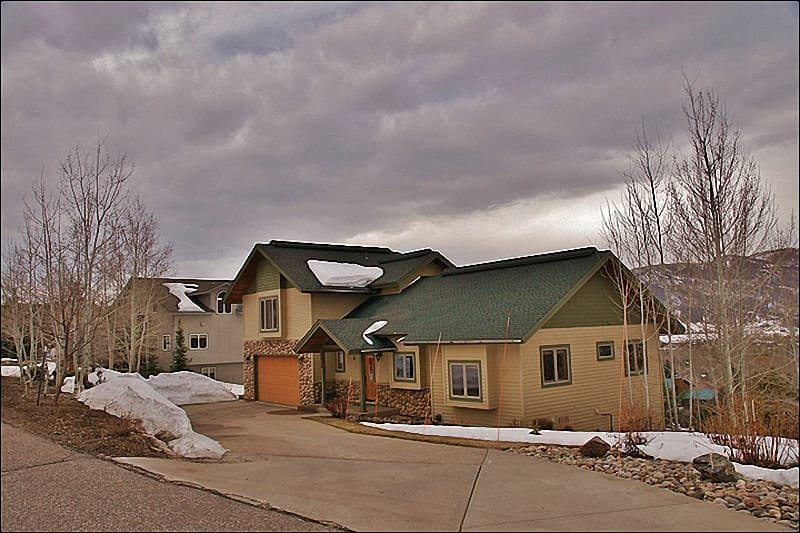 Exterior View of the Home - Plenty of Parking, Mature Landscaping - Large Private Home with Beautiful Views - Multiple Living Rooms, Private Hot Tub (2706) - Steamboat Springs - rentals