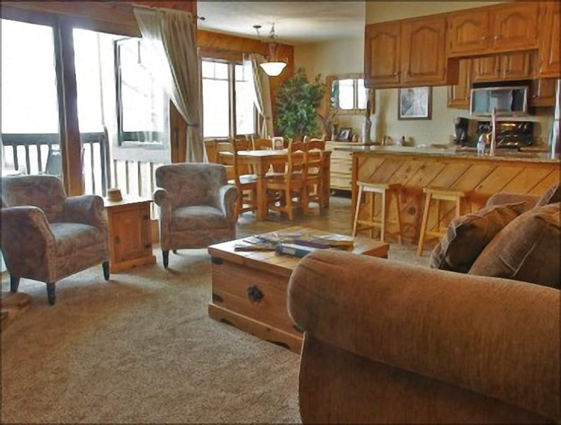 Open Concept layout with sleeper sofa, balcony, and full bathroom. - Very Close to the Gondola, Groceries - Heated Pool, Hot Tubs, Sauna (3678) - Steamboat Springs - rentals