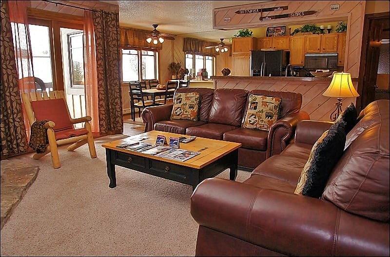 Plenty of Comfortable Seating in the Living Room - 2 Leather Couches - Ski to within 30 Yards of the Condo - Private Shuttle & City Shuttle Service (3708) - Steamboat Springs - rentals