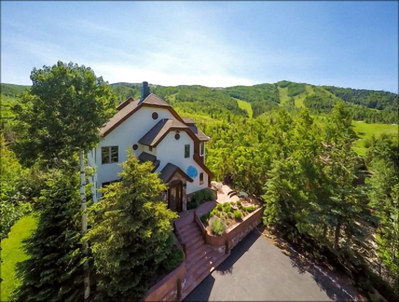 Exterior Aerial View of this Exclusive & Massive Home with Ski In Ski Out Location - Ski In Ski Out, next to the Thunderhead Express Lift - 7 Master Suites and 8000 Square Feet  (3932) - Steamboat Springs - rentals