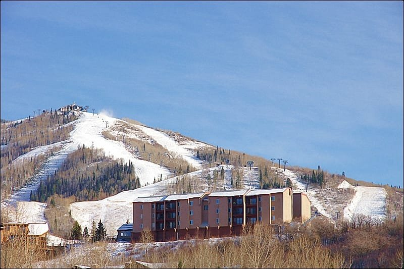 Exterior View of the Condo & the Steamboat Ski Resort looming above. - Good Quality + Low Rates = Great Value! - Views of Downtown & Emerald Mountain (4001) - Steamboat Springs - rentals