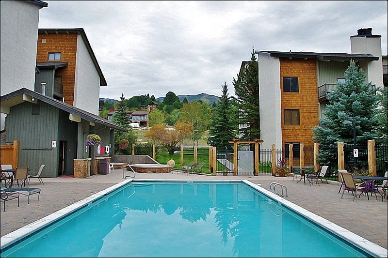 The Heated Pool & Hot Tub area is great, winter or summer! - Great Location & Value - Walk or Ride to Gondola Square (4103) - Steamboat Springs - rentals
