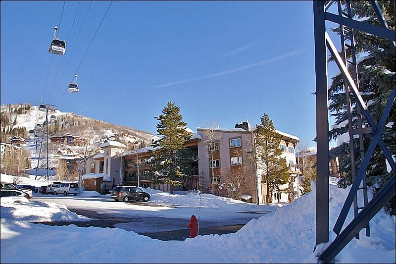 Exterior View of this Ski In Ski Out Location from the ski access point - Great Value & Location - Updated & Remodeled (4616) - Steamboat Springs - rentals