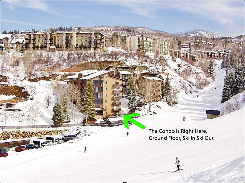 Exterior View of the building & condo! - Private Shuttle Service in Ski Season - Ground Floor - Direct Ski Access (5480) - Steamboat Springs - rentals