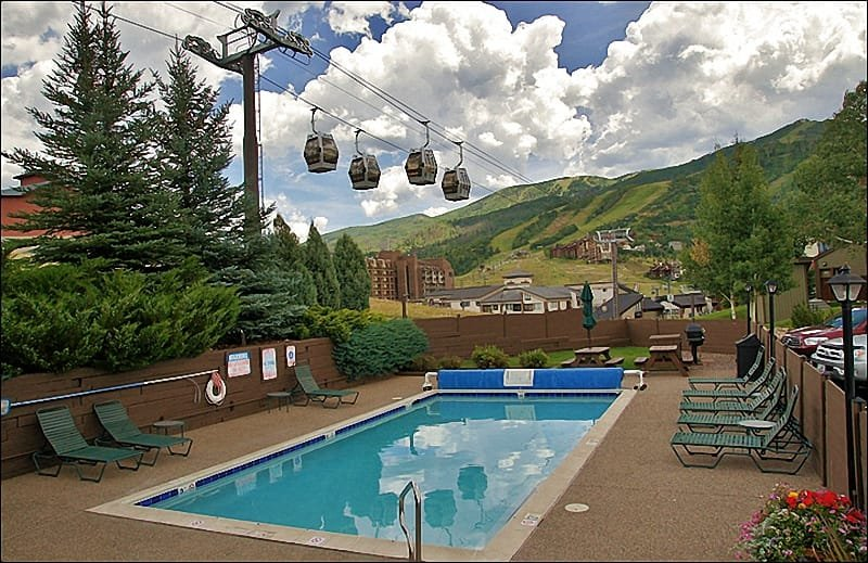 Yes, that is Gondola Square & the Ski Area Base right across the street from your Heated Pool! - VERY Close to the Gondola - Heated Pool & Hot Tubs (6366) - Steamboat Springs - rentals