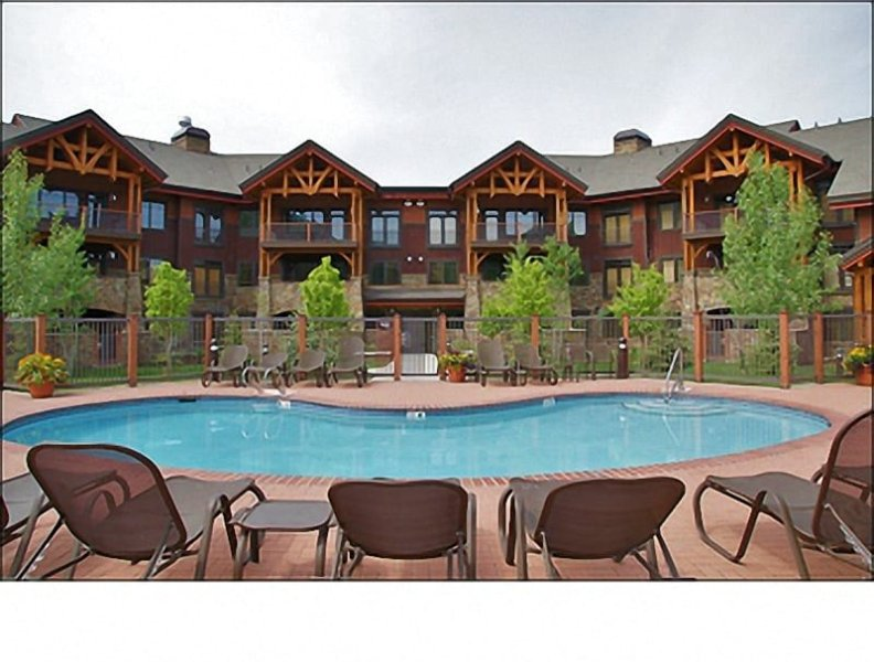 This Heated Pool, Hot Tub, & Grilling area is right outside! - Ultimate Resort Location - Brand New 11/2008 - Spacious Floorplan, Mountain View (9951) - Steamboat Springs - rentals