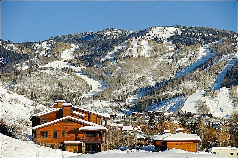 Exterior View of the Condos with the Ski Area looming above. - Newly Built & Spacious - Vaulted Ceilings Throughout - Beautifully Decorated & Furnished in 2012 (9395) - Steamboat Springs - rentals