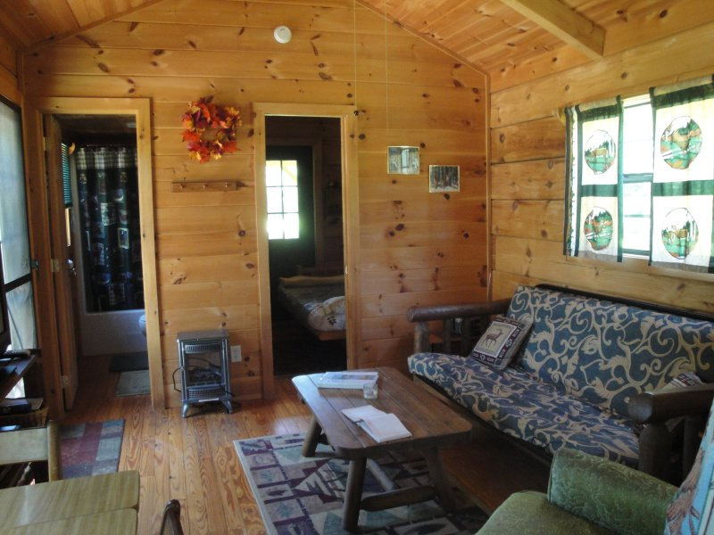 Living Area with Futon - Peaceful Treasure #4- Riverfront - Near Gem Mines - Franklin - rentals