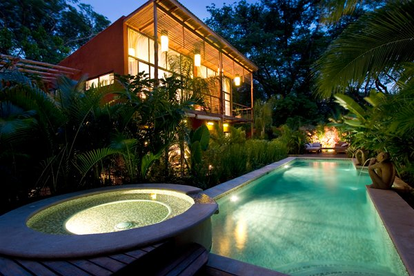 Dusk Overlooking Pool and Spa - Monkeys Parrots Lush Tropical Paradise. Tucan - Playa Flamingo - rentals
