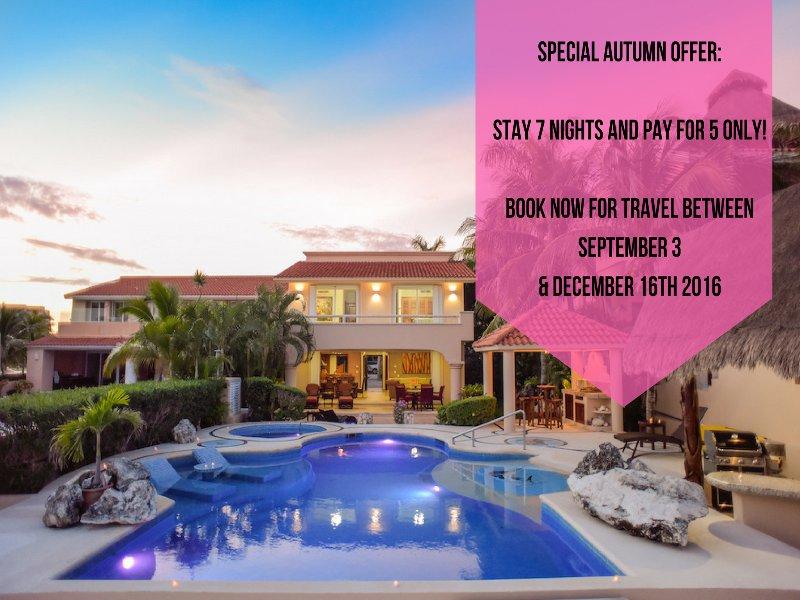 **SPECIAL AUTUMN OFFER** STAY 7 NIGHTS & PAY FOR 5 ONLY!   - Riviera Maya Haciendas - Villa Marinera/With Yacht - Puerto Aventuras - rentals