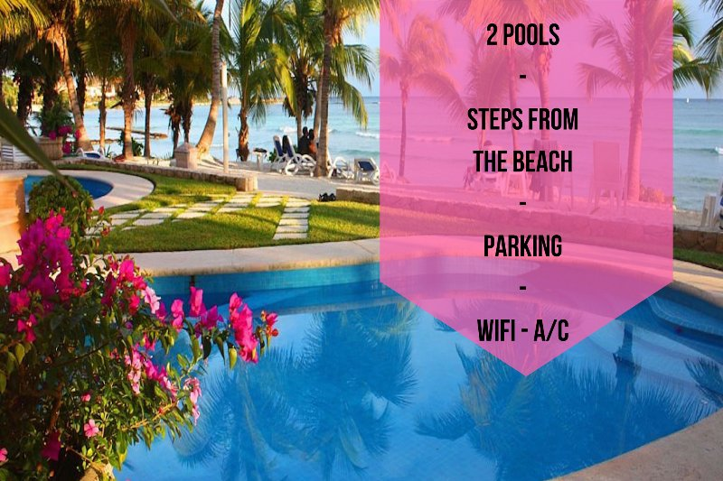 2 POOLS // STEPS FROM THE BEACH // PARKING // WIFI // A/C  - Riviera Maya Haciendas - Studio Steps From Beach - Puerto Aventuras - rentals