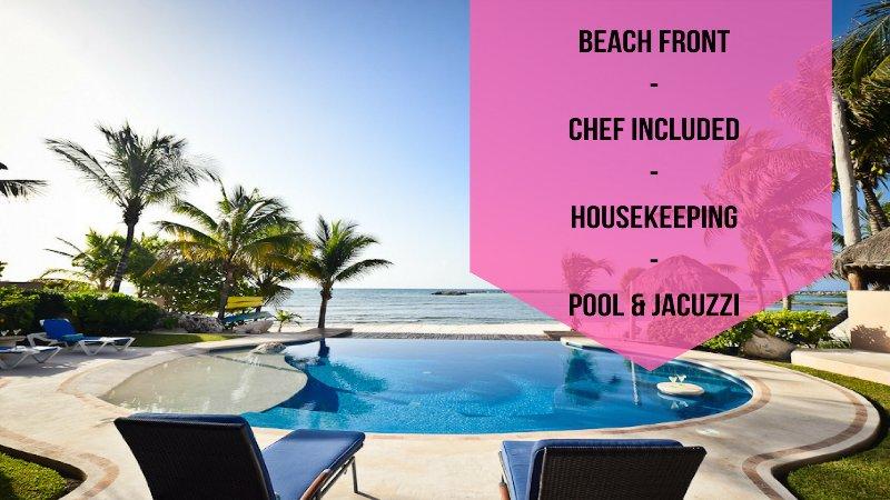 BEACH FRONT // CHEF INCLUDED // HOUSEKEEPING // POOL & JACUZZI - Riviera Maya Haciendas - Villa Nautica  BeachFront - Puerto Aventuras - rentals