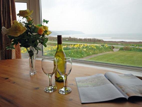 View from dining area across garden toward beach - SSHEL - Widemouth Bay - rentals