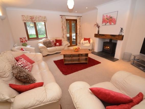 Lounge with gas effect woodburner and doors to conservatory - BUDEG - Bude - rentals