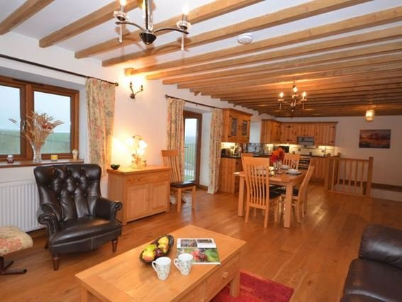 Lounge/kitchen/diner with Juliet balcony making the most of the countryside views  - RAINE - Polperro - rentals